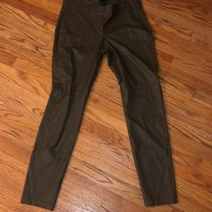Pants - H&M Olive green Faux Leather pants Size 12